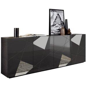 Benvenuto Design Vittoria Dressoir 4-Deurs Grijs Hoogglans