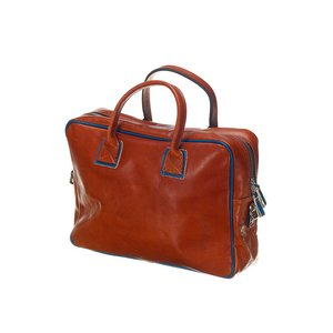 Mutsaers Leather Laptop Bag - The Sleeve Plus - Cognac / blue