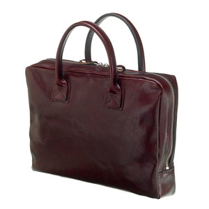 Mutsaers Leather Laptop Bag - The Windsor - Dark Brown