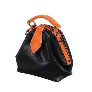 Mutsaers Leather ladies bag - The Vesper - black / orange