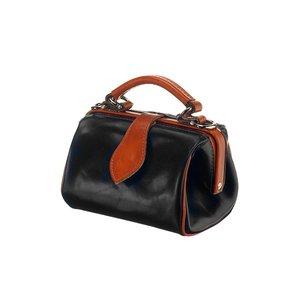 Mutsaers Leather ladies bag - Miss Doctor - Black with Cognac