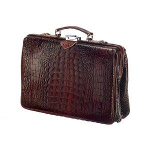 Mutsaers Leather Laptop Bag - The Classic Dark Brown Croco