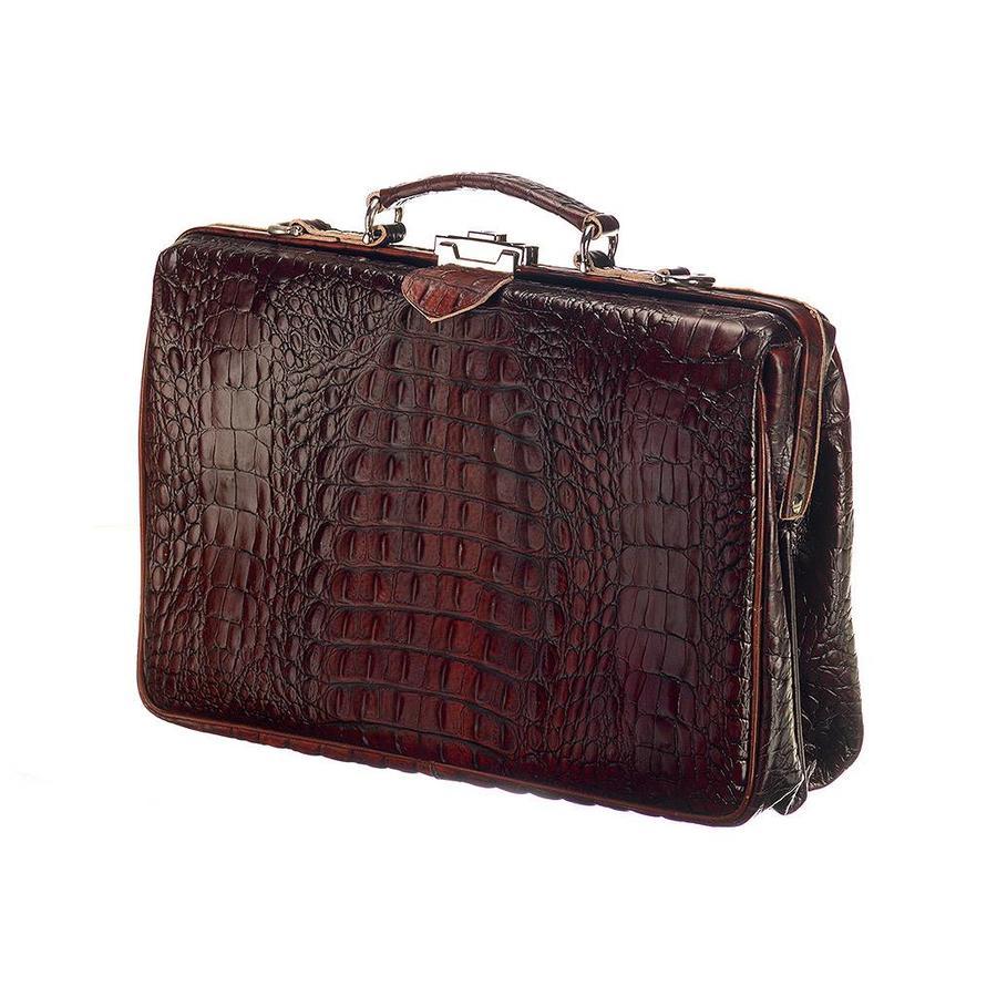 8855399d2e2 Leren Laptoptas - The Classic Donkerbruin Croco