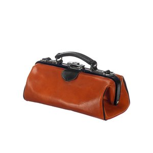 Mutsaers Leather ladies bag - The Volpe - Cognac with black