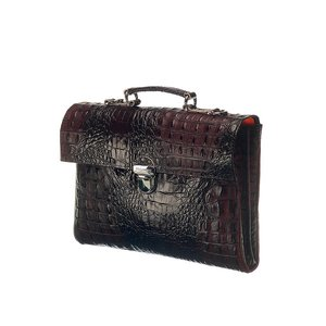 Mutsaers Leather Laptop Bag - The Walker - Dark Brown Croco