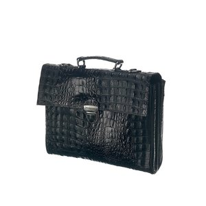 Mutsaers Leather Laptop Bag - The Walker - Black Croco