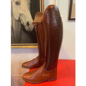Petrie Dressage Boots 25% Discount D020-7.5 Petrie Sublime Dressage in  cognac calf + cognac croco shaft  7.5 46-38-36