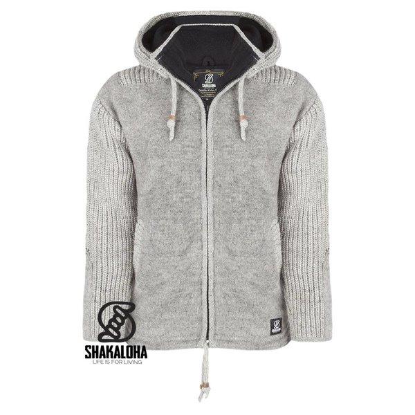 Shakaloha Finn Man Grey Knit Hooded Wool Jacket with fleece lining