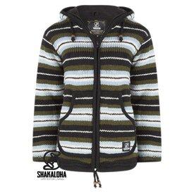 Shakaloha Pilgrim Kapuzenjacke aus handgestrickter Schafwolle grÌÎ_n-blau gestreift fÌÎ_r Damen