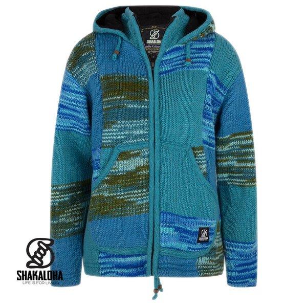 Shakaloha Shakaloha Patchwork Aqua Fleece Lined Wool Jacket with fixed hood and inside collar