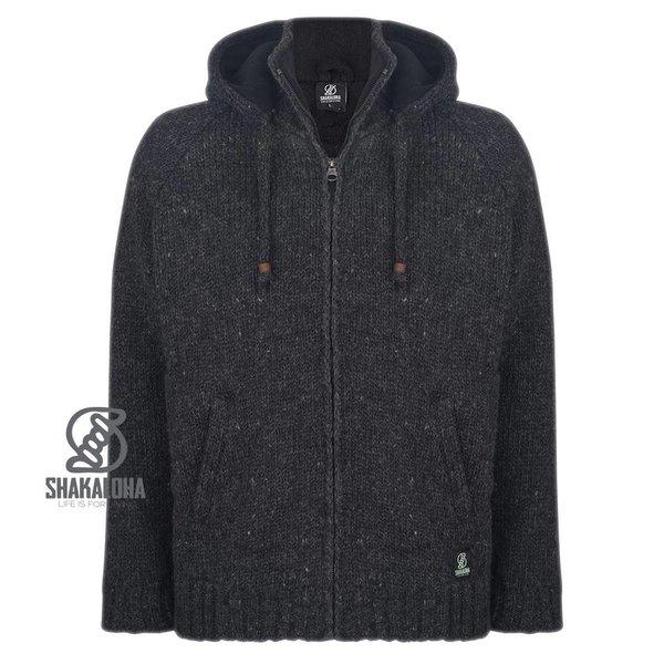 Shakaloha Shakaloha Radical Ziphood Anthracite Wool Jacket Unisex with Micro Fleece Lining