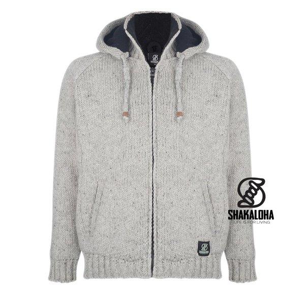 Shakaloha Shakaloha Radical Ziphood Grey Knit Wool Jacket with Fleece Lining