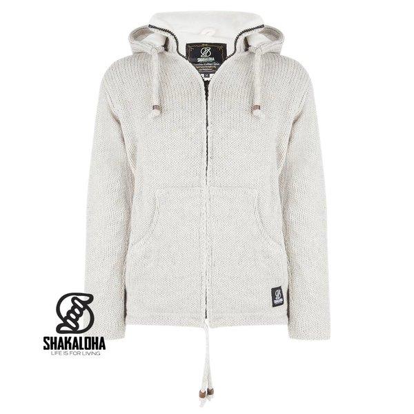 Shakaloha Flash Ziphood shaving cream beige, fleece-lined wool jacket with hood afristbare