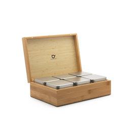 Bambus Teebox mit 6 Teedosen