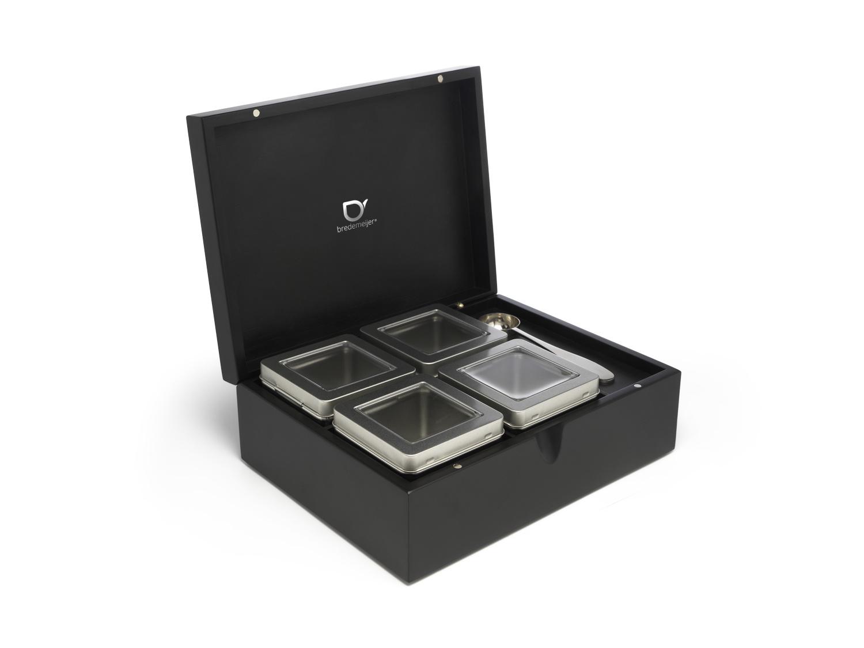 Bambus Teebox mit 4 Teedosen + Teemaßlöffel