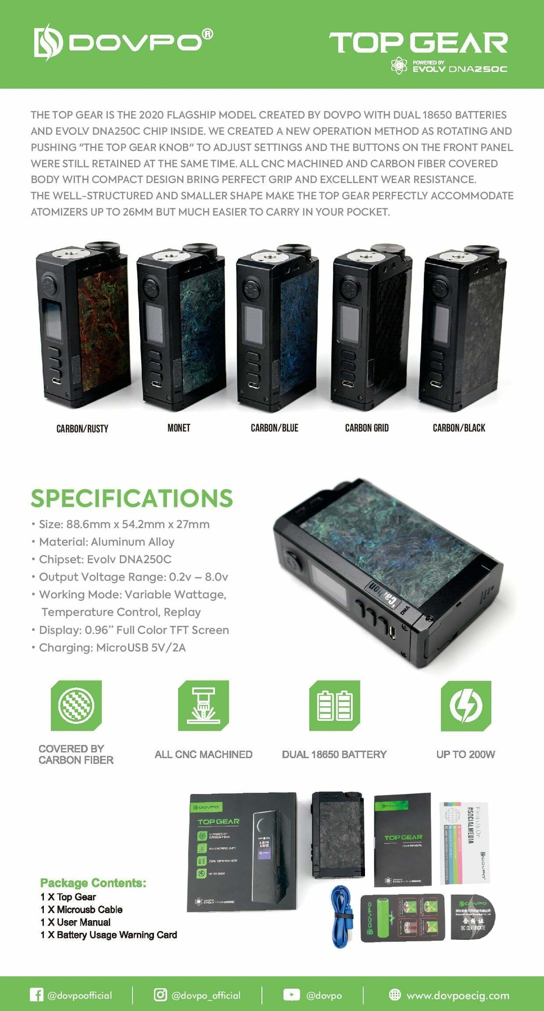 Dovpo Top Gear DNA 250C Box Mod