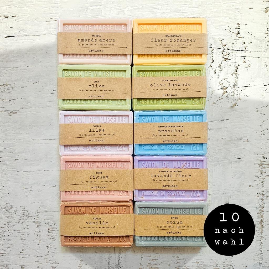 Wählen Sie Ihre 10 Lieblingsseifen je 100g.  und erhalten 1 Seifensäckchen  im Wert von 4,90€ gratis dazu.