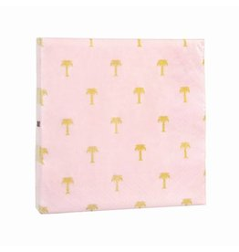 &Klevering Servetten gold palm tree pink