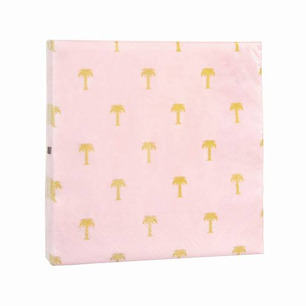&Klevering Servietten Gold Palm Tree Pink