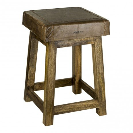 PTMD Raw Grey leather stool