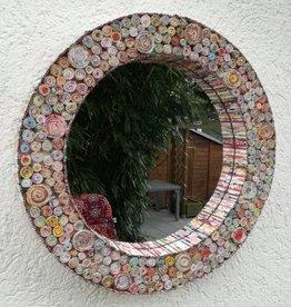 Ausgefallener runder Spiegel aus Recycling Papier,  bunte Rosetten, handgefertigt