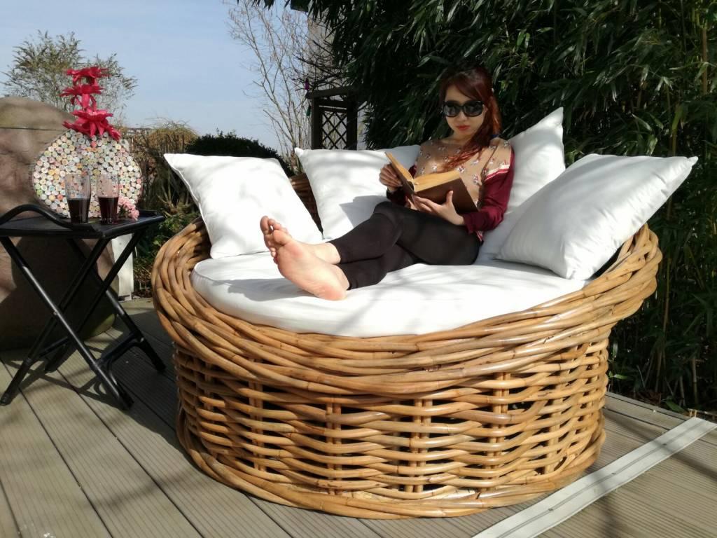 Bulat XXL-Sessel aus Natur Rattan, für 2 Personen, Korbsessel, inkl. Kissen
