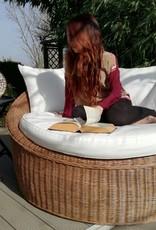 Rattan Natur Runder Korbsessel Sofa, 160cm, Set inkl.Tisch,Fussablage, Kissen