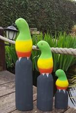 Ausgefallene bunte Papageien aus Holz, handgefertigt aus Bali, Set 3 Stück