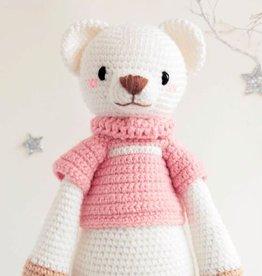 Teddybär, handgestrickt, plus zwei Outfits gratis