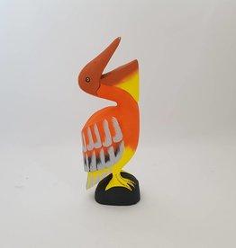 Wunderschöner Pelikan aus Holz, handgefertigt, orange, Höhe 50 cm