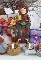 """Decor Of World Miniaturfiguren Set """"Drei Winterkinder"""" mit Teelichthalter"""