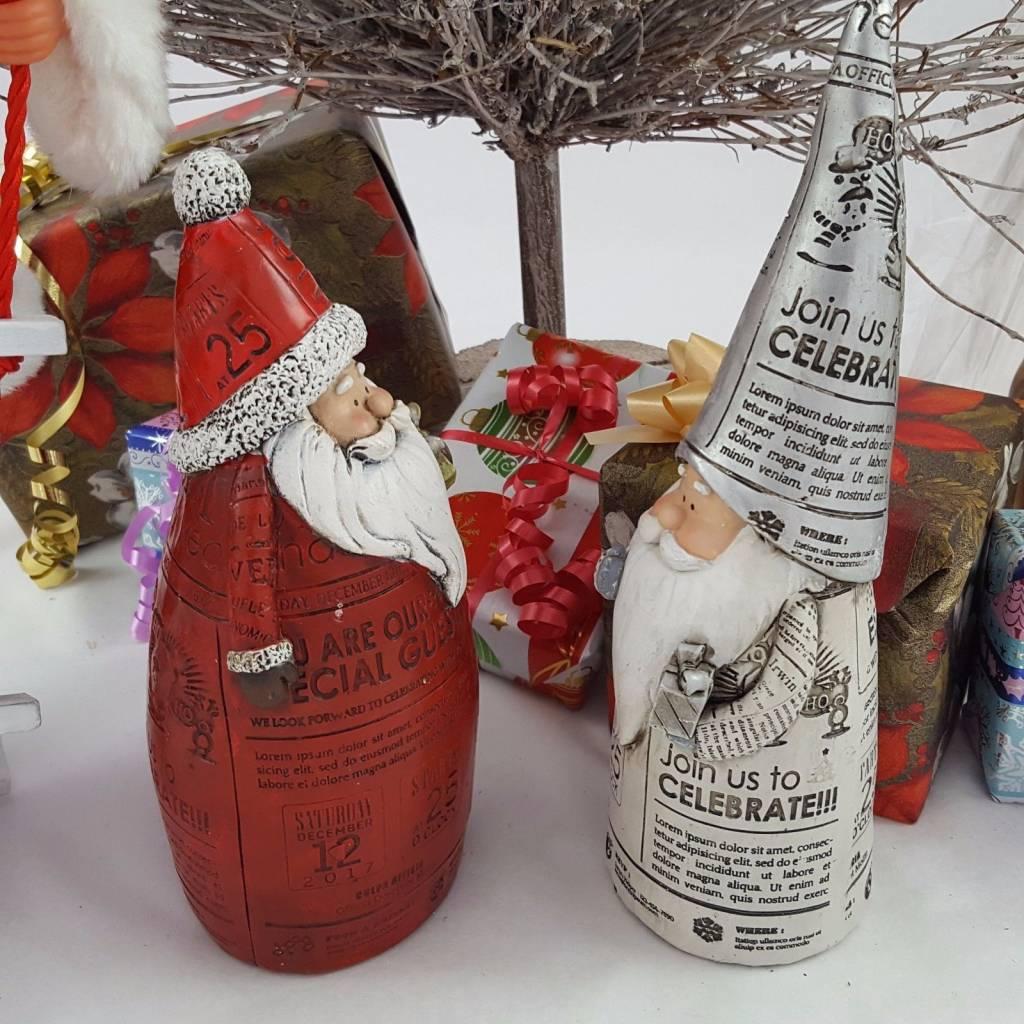Decor Of World Weihnachtsmann Rot und Silber 2er Set  im Zeitungsdruck