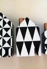 Kerzenhalter Häuser, Set, Holz