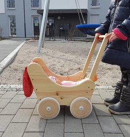 Decor Of World Holzkarren mit Bettwäsche Puppenwagen aus Holz inklusive Decke