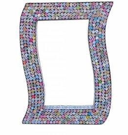 Ausgefallener rechteckiger Spiegel aus Recyclingpapier, bunte Rosetten, handgefertigt