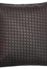 Kissenbezug  aus Kunstleder in schwarz, 30 x 30 cm