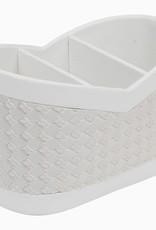 Elegante Multifunktionsbox/Utensilo aus weißem Kunstleder