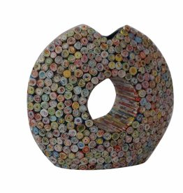 Ausgefallene runde bunte Vase in Pacmanform (H 39 cm) aus Recyclingpapier, handgefertigt