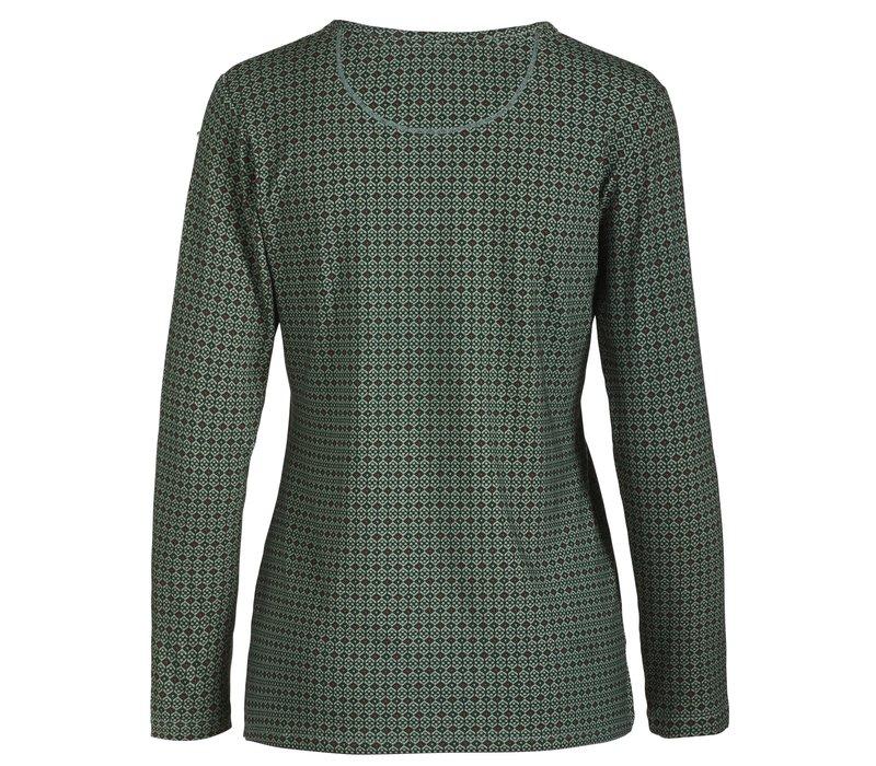 Top Trice Folk Stitch Green