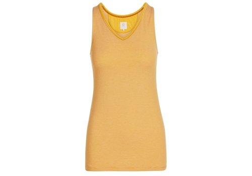 Pip Studio Mouwloze top shiny stripes geel