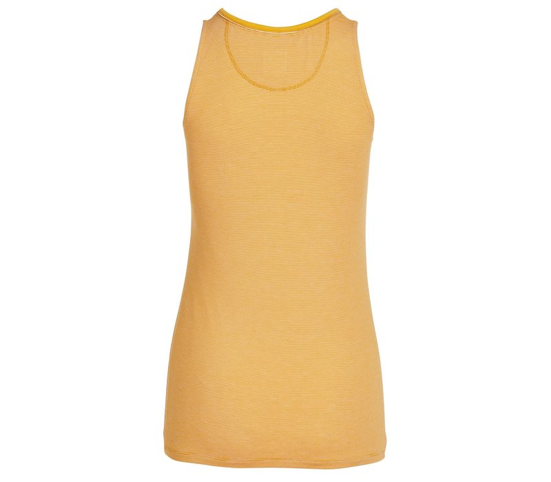 Mouwloze top shiny stripes geel