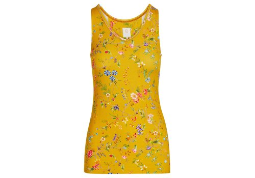 Pip Studio Mouwloze top petites fleurs geel
