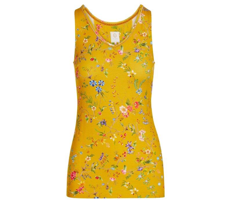 Mouwloze top petites fleurs geel