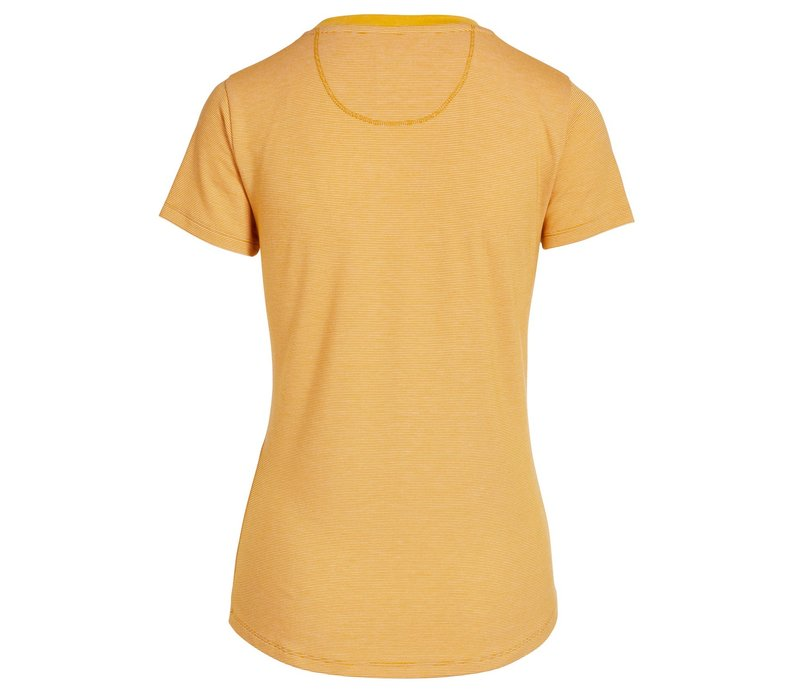 Top korte mouw shiny stripes geel