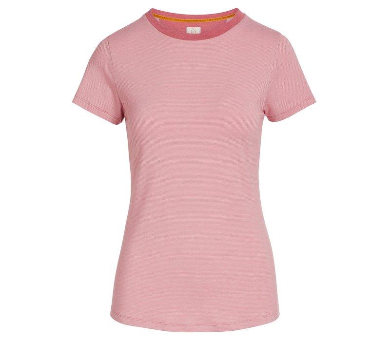 Top korte mouw shiny stripes roze