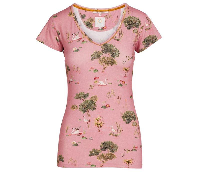 Top korte mouw swan lake roze