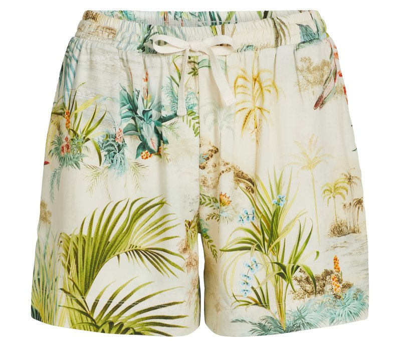 Korte broek palm scenes off wit