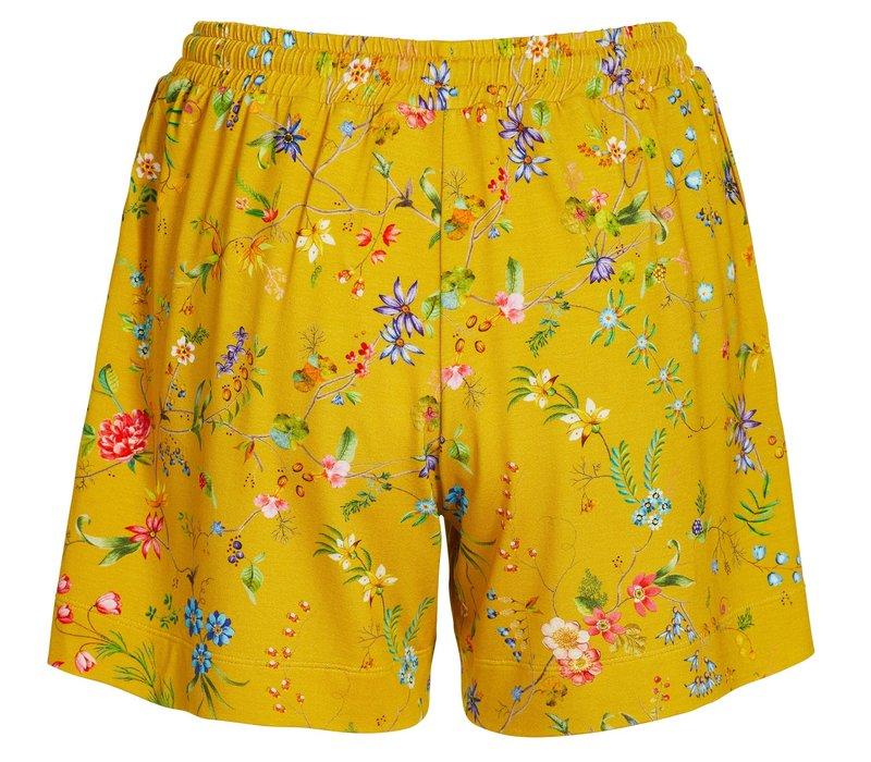 Korte broek petites fleurs geel