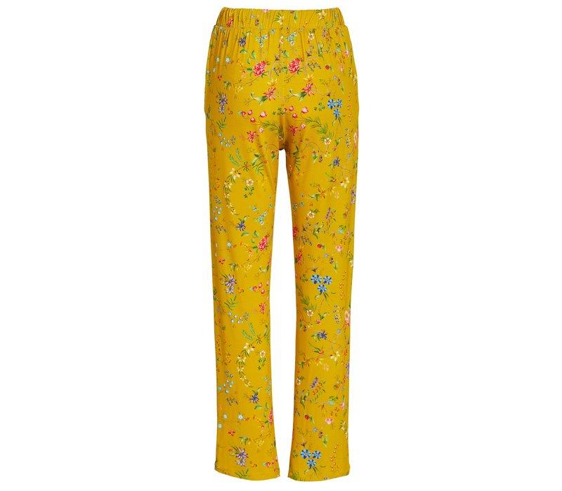 Lange broek petites fleurs geel
