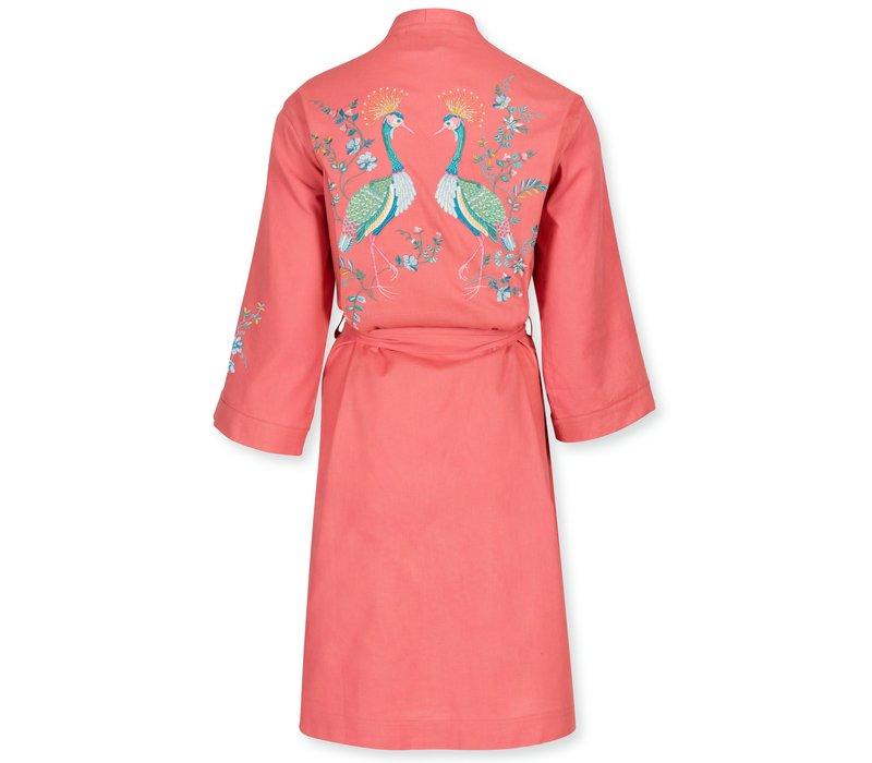 Kimono Naomi Flirting Birds Embroidery Pink